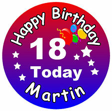 BIG 18th BIRTHDAY BADGE (MALE) - big PERSONALISED badge, NAME, ANY COLOURS - NEW