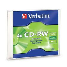 Verbatim CD-RW 80Min 700MB 2X-4X Branded 1-Pack Slim Jewel Case Box