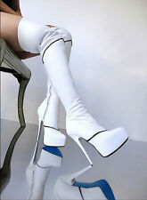 White leather thigh high platform boots, blue sole, EU 45, 14 US Italy