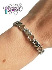 LADIES STRONG BIO MAGNETIC SILVER & GOLD COLOURED ALLOY HEALING BRACELET HEARTS