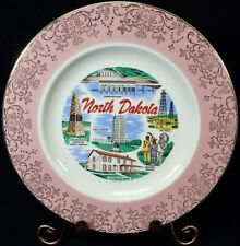 "vintage U.S State Souvenir Plate North Dakota Large 10"" Pink Rim w/ Gold Scroll"
