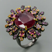 Ruby Ring Silver 925 Sterling Handmade16x13mm Size 8.75 /R131299