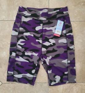 New Pop Fit Legging Shorts Purple Camouflage Camo XL Double Pocket Athletic