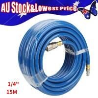 "Flexible PVC Air Pneumatic Compressor Hose Tool 1/4"" 15M w/ Quick Connector AU"