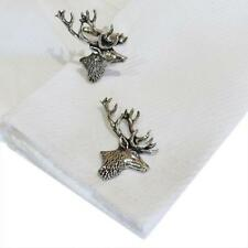 England High Quality Cufflinks Deer Stag Silver Pewter Stags Head Handmade in