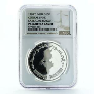 Tunisia 10 dinars 30th Anniversary of Central Bank PF67 NGC silver coin 1988