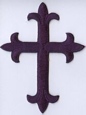 Iron On Applique Embroidered Patch Religious Fleur de lis Cross Purple
