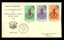 ASCENSION 1968 INTERNATIONAL HUMAN RIGHTS YEAR ILLUSTRATED FDC