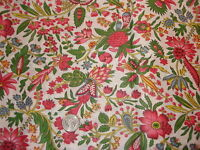 """Vintage Cotton Fabric SHADES OF PINK,BLUE,GREEN,YELLOW FLORAL 1 1/2 Yd/44"""" Wide"""