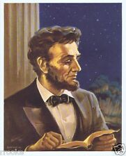 Rare Authentic Christian Lithograph President Abraham Lincoln Reading His Bible
