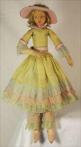Antique Lenci Cloth Boudoir Bed Doll c1920