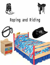 Cowboy Cowgirl roping and riding 5pieces  Vinyl Wall Decal Sticky Decor Letter