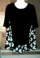 WOMEN'S SIMPLY VERA WANG BLACK WITH FLORAL PRINT SHORT SLEEVE HI LO TOP SIZE M