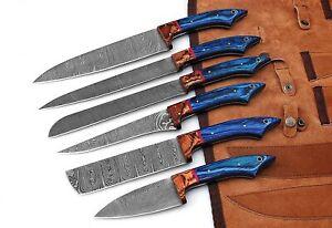 Handmade Professional Kitchen Damascus Knife Set, 6pcs Best Damascus Steel Chef