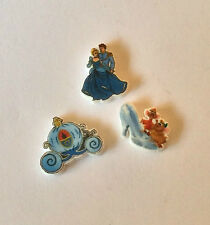 3 CINDERELLA FLOATING LOCKET CHARMS GLASS SHOE PRINCE PRINCESS