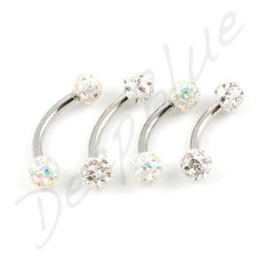 STEEL CURVED BARBELL Resin Coated SMOOTH DISCO BALLS  Eyebrow Lip Belly Bar