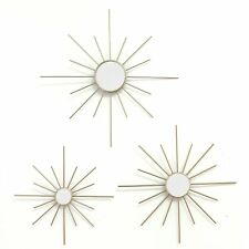 Set of 3 Gold Mirror Burst Hanging Interior Wall Art Home Decor