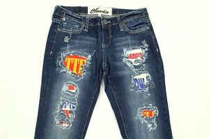 Claudio Milano Women's Jeans Distressed Crystal Embellished Patches Size 3