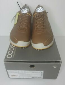Ecco Biom G2 Yak Leather HydroMax NIB Size 12 - Camel / Fanta Brown & Yellow