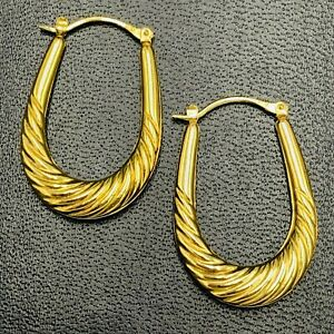 9ct Yellow Gold Oval Drop Scallop Design Hoop Ear Rings L278