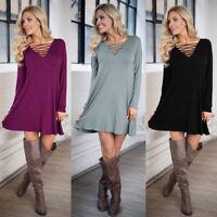 Fall Women Casual V-neck Lace-up Party Dress Long Sleeve Mini Shirt Dress Loose