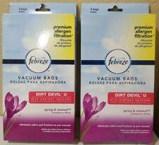 🌟NEW🌟FEBREZE DIRT DEVIL U Vacuum Bags, Premium Allergen Filtration, 2 boxes