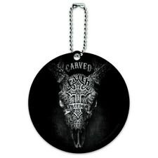 Carved Faith Freedom Religion Steer Skull Round Luggage Card Carry-On ID Tag
