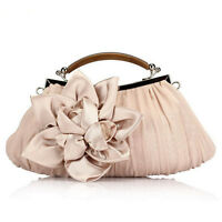 NEW Women's Wedding Bridal Rosette Tote Handbag Party Chain Evening Clutch Bag