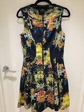 Cue Size 8-10 Floral Black Dress