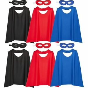 Action Hero Dress Up Capes and Masks Costume Set for Kids (3 Colors, 12 Pieces)