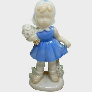 Vintage Japanese Porcelain Girl Blue Dress Scarf Bouquet Of Flowers Art Deco