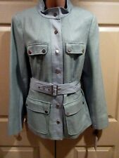 Worth New York WOMENS SIZE 14 Expedition Long Jacket SILK/COTTON *WATERMINT*