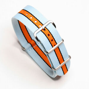 One-Piece Gulf Racing Porsche Inspired Racing Colors Strap Nylon Watch Band
