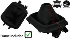 RED STITCH LEATHER MANUAL GEAR GAITER +PLASTIC FRAME FOR MAZDA CX5 CX-5 12-16