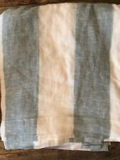 "2x$109 Pottery Barn Set of 2 Panels Drapes Awning Stripe Sheer Linen 108""L BLUE"