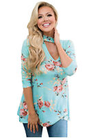UK Plus Size Womens Blouse Floral Choker Ladies Casual Flower Print T-Shirt Tops