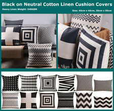 Black Beige Geometric Cotton Linen Cushion Cover Home Decor Throw Pillow Case