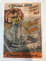 Detroit Togerd 1950 Scorecard Original