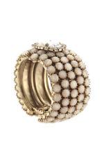 Rodrigo Otazu Gold Tone Crystal Clear Cabachon Stone Cuff Bracelet