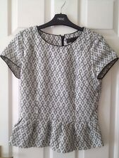 Ladies Short Sleeved Top - Size 10 - Next - Back/White - VGC