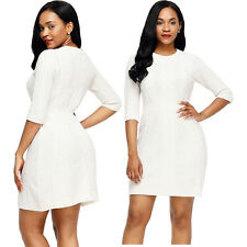 White cable knit fitted 3/4 sleeve sweater dress long stage dance wear women