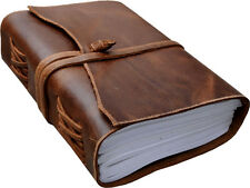 Antique Dark brown Crazy-Horse Leather Journal (Handmade) - Leather Cord Coptic