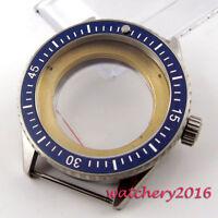43mm PARNIS Blue ceramic bezel sapphire Watch Case fit ETA 2824 2836 Movement