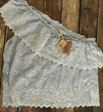 NWT American Eagle One Shoulder Blue White Embroidered Top Shirt Summer Large