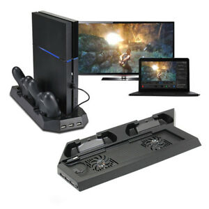 For PS4 Vertical Stand  + Cooling Fan Controller Charging Dock Statio USB HUB