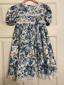 Vintage Bonnie Jean Dress Size 5 Floral Blue White  Lace Victorian Tea Dress USA
