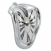 Novelty Retro Distorted Right Angle Wall Clock Modern Design Melting Time Seated