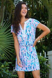 $148 NEW Lilly Pulitzer REBLE SKORT Dress ROMPER Skim Blue Reel Nauti ANCHOR S L