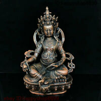 Old Tibet Buddhism Temple Bronze Yellow Jambhala Mammon Wealth God Buddha Statue