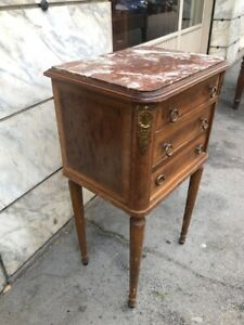 Inlaid Walnut Louis XVI Bedside Table with Red Marble Top